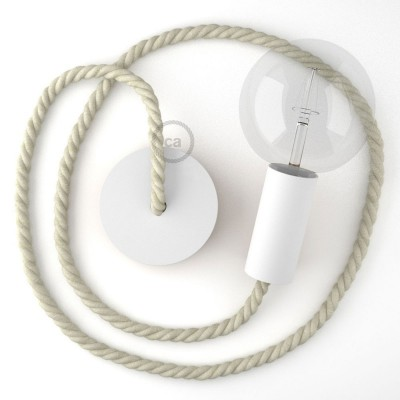 Λευκό Ξύλινο Κρεμαστό Φωτιστικό με ναυτικό σχοινί Τριχιά XL 16mm σε Λευκό Βαμβάκι, Made in Italy.