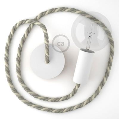 Λευκό Ξύλινο Κρεμαστό Φωτιστικό με ναυτικό σχοινί Τριχιά XL 16mm σε Λινό Γκρι και Λευκό Βαμβάκι, Made in Italy.