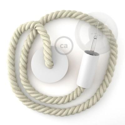 Λευκό Ξύλινο Κρεμαστό Φωτιστικό με ναυτικό σχοινί Τριχιά 2XL 24mm σε Λευκό Βαμβάκι, Made in Italy.