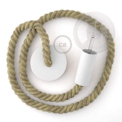 Λευκό Ξύλινο Κρεμαστό Φωτιστικό με ναυτικό σχοινί Τριχιά 2XL 24mm Φυσικό Σχοινί από Γιούτα, Made in Italy.