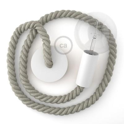 Λευκό Ξύλινο Κρεμαστό Φωτιστικό με ναυτικό σχοινί Τριχιά 2XL 24mm σε Λινό Φυσικό Γκρι, Made in Italy.