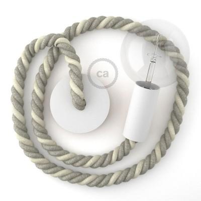 Λευκό Ξύλινο Κρεμαστό Φωτιστικό με ναυτικό σχοινί Τριχιά 2XL 24mm σε Λινό Φυσικό Γκρι και Λευκό Βαμβάκι, Made in Italy.