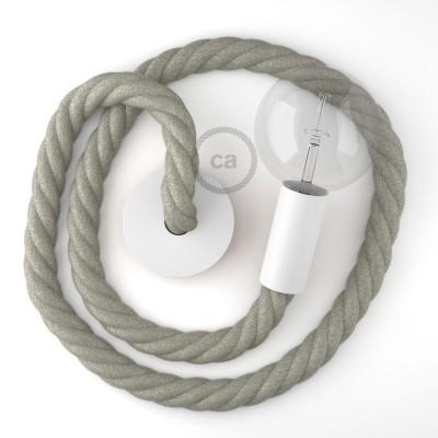 Λευκό Ξύλινο Κρεμαστό Φωτιστικό με ναυτικό σχοινί Τριχιά 3XL 30mm σε Λινό Φυσικό Γκρι, Made in Italy.