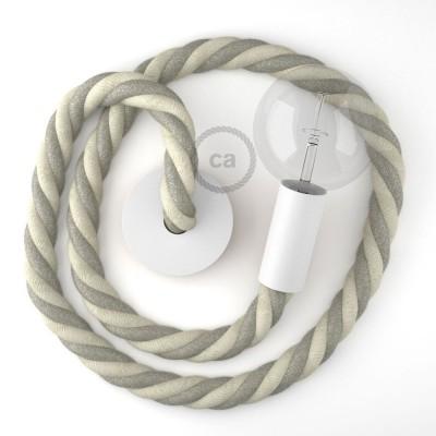 Λευκό Ξύλινο Κρεμαστό Φωτιστικό με ναυτικό σχοινί Τριχιά 3XL 30mm σε Λινό Φυσικό Γκρι και Λευκό Βαμβάκι, Made in Italy.