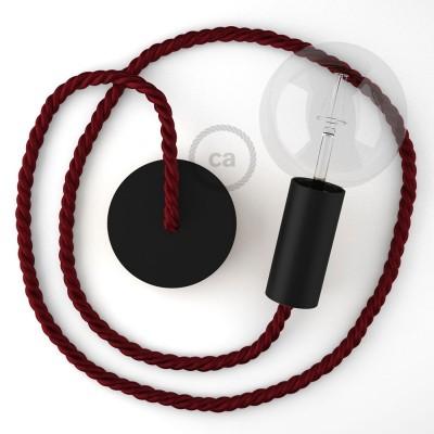 Μαύρο Ξύλινο Κρεμαστό Φωτιστικό με ναυτικό σχοινί Τριχιά XL 16mm σε Μπορντώ, Made in Italy.