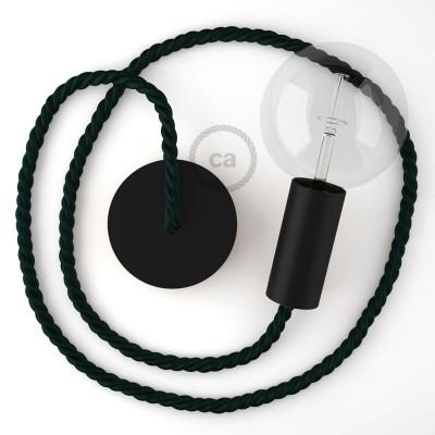 Μαύρο Ξύλινο Κρεμαστό Φωτιστικό με ναυτικό σχοινί Τριχιά XL 16mm σε Πράσινο, Made in Italy.