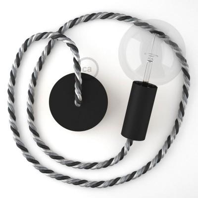 Μαύρο Ξύλινο Κρεμαστό Φωτιστικό με ναυτικό σχοινί Τριχιά XL 16mm σε γκρι αποχρώσεις Orleans, Made in Italy.