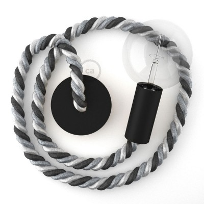Μαύρο Ξύλινο Κρεμαστό Φωτιστικό με ναυτικό σχοινί Τριχιά 2XL 24mm σε γκρι αποχρώσεις Orleans, Made in Italy.
