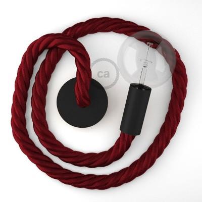 Μαύρο Ξύλινο Κρεμαστό Φωτιστικό με ναυτικό σχοινί Τριχιά 3XL 30mm σε Μπορντώ, Made in Italy.