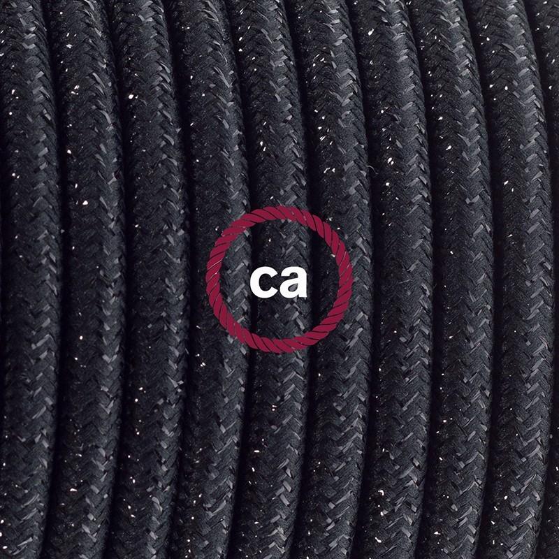 Καλωδίωση πορτατίφ με Υφασμάτινο Καλώδιο RL04 Γυαλιστερό Μαύρο - 1.80 m. Με ενδιάμεσο διακοπτάκι και φις.