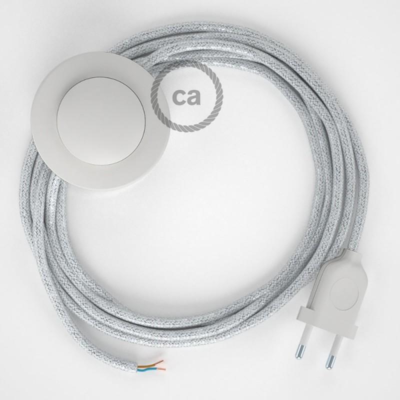 Υφασματινο Καλώδιο για Φωτιστικά Δαπέδου Λαμέ Λευκό RL01 - 3 m. Με διακόπτη ποδός και φις.