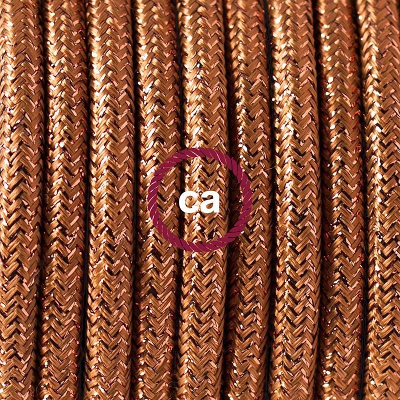 Υφασματινο Καλώδιο για Φωτιστικά Δαπέδου Γυαλιστερό Χάλκινο RL22 - 3 m. Με διακόπτη ποδός και φις.