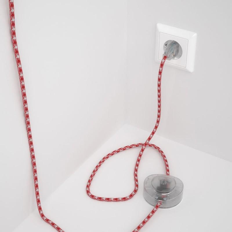 Υφασματινο Καλώδιο για Φωτιστικά Δαπέδου Άσπρο-Κόκκινο RP09 - 3 m. Με διακόπτη ποδός και φις.