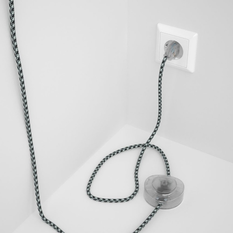 Υφασματινο Καλώδιο για Φωτιστικά Δαπέδου Δίχρωμο Άσπρο-Μαύρο RP04 - 3 m. Με διακόπτη ποδός και φις.