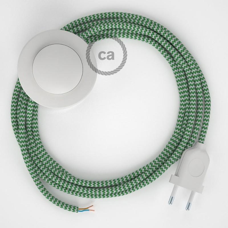 Υφασματινο Καλώδιο για Φωτιστικά Δαπέδου Zig Zag Άσπρο-Πράσινο RZ06 - 3 m. Με διακόπτη ποδός και φις.