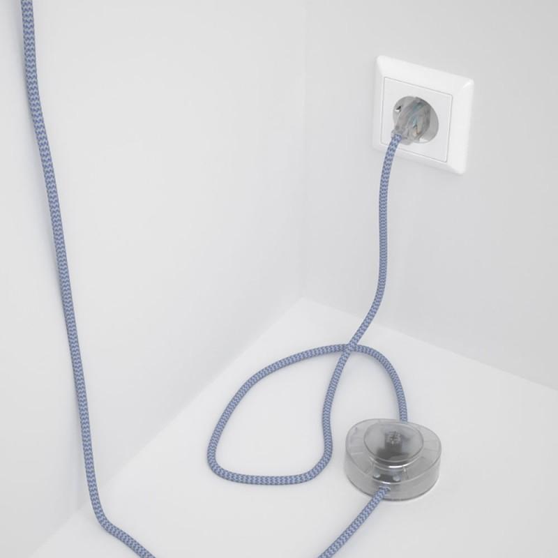 Υφασματινο Καλώδιο για Φωτιστικά Δαπέδου Zig Zag Άσπρο-Λιλά RZ07 - 3 m. Με διακόπτη ποδός και φις.