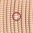 Υφασματινο Καλώδιο για Φωτιστικά Δαπέδου Zig Zag Άσπρο-Πορτοκαλί RZ15 - 3 m. Με διακόπτη ποδός και φις.