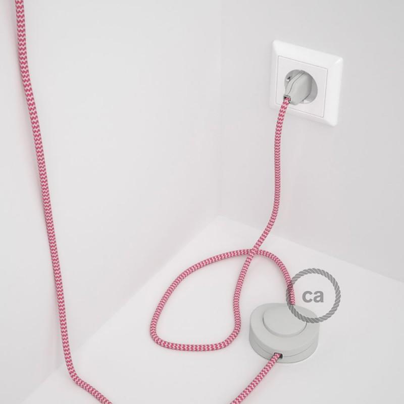 Υφασματινο Καλώδιο για Φωτιστικά Δαπέδου Zig Zag Άσπρο-Φουξ RZ08 - 3 m. Με διακόπτη ποδός και φις.