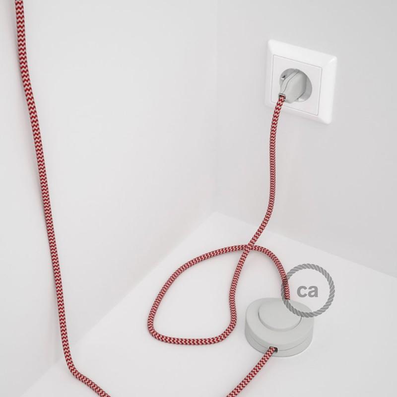 Υφασματινο Καλώδιο για Φωτιστικά Δαπέδου Zig Zag Άσπρο-Κόκκινο RZ09 - 3 m. Με διακόπτη ποδός και φις.