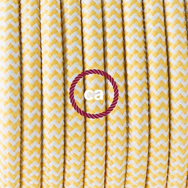 Υφασματινο Καλώδιο για Φωτιστικά Δαπέδου Zig Zag Άσπρο-Κίτρινο RZ10 - 3 m. Με διακόπτη ποδός και φις.