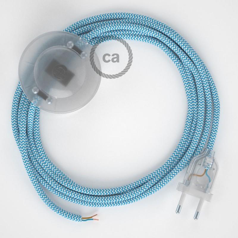 Υφασματινο Καλώδιο για Φωτιστικά Δαπέδου Zig Zag Άσπρο-Γαλάζιο RZ11 - 3 m. Με διακόπτη ποδός και φις.