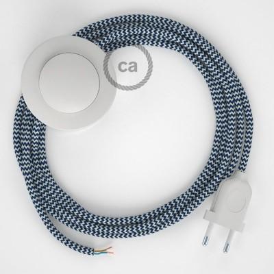 Υφασματινο Καλώδιο για Φωτιστικά Δαπέδου Zig Zag Άσπρο-Μπλε RZ12 - 3 m. Με διακόπτη ποδός και φις.