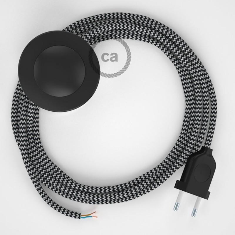 Υφασματινο Καλώδιο για Φωτιστικά Δαπέδου Zig Zag Άσπρο-Μαύρο RZ04 - 3 m. Με διακόπτη ποδός και φις.
