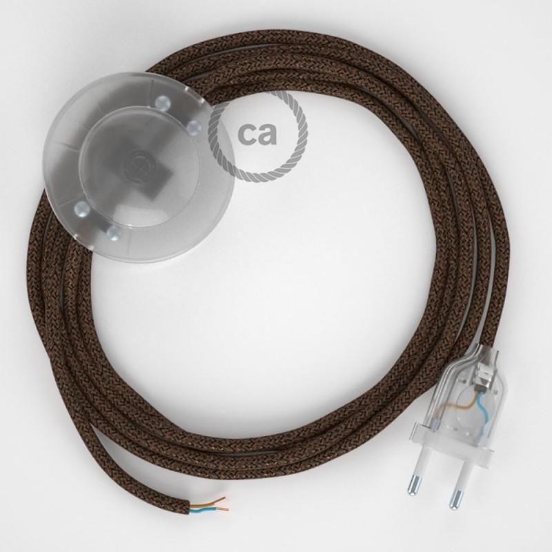 Υφασματινο Καλώδιο για Φωτιστικά Δαπέδου Λαμέ Καφέ RL13 - 3 m. Με διακόπτη ποδός και φις.