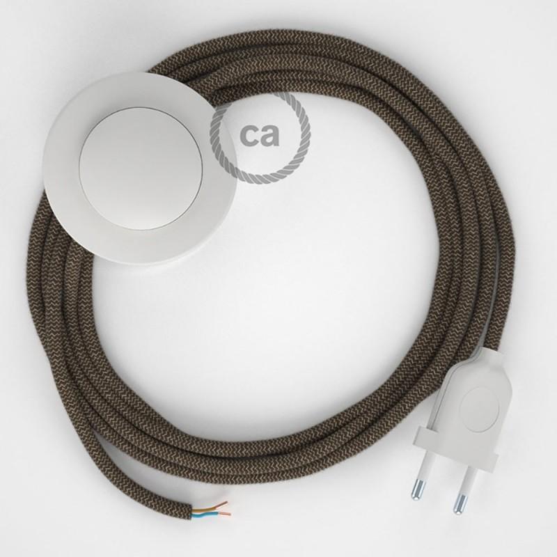 Υφασματινο Καλώδιο για Φωτιστικά Δαπέδου Zig Zag μπεζ λινό και καφέ βαμβάκι RD73 - 3 m. Με διακόπτη ποδός και φις.
