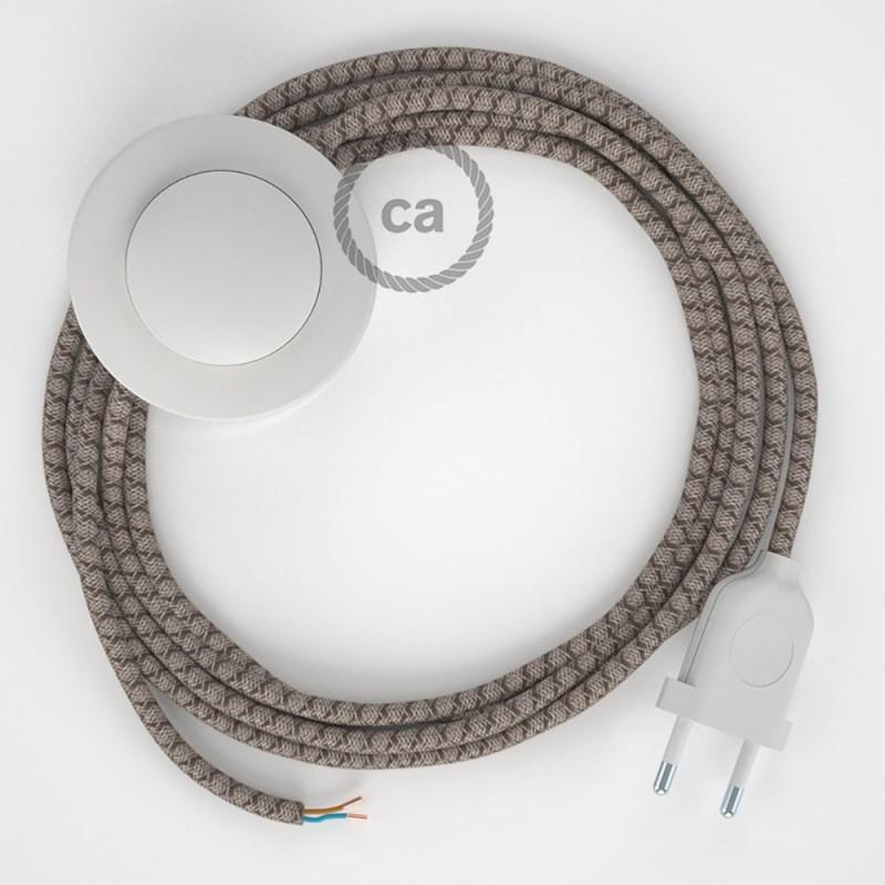 Υφασματινο Καλώδιο για Φωτιστικά Δαπέδου Lozenge μπεζ λινό και καφέ βαμβάκι RD63 - 3 m. Με διακόπτη ποδός και φις.