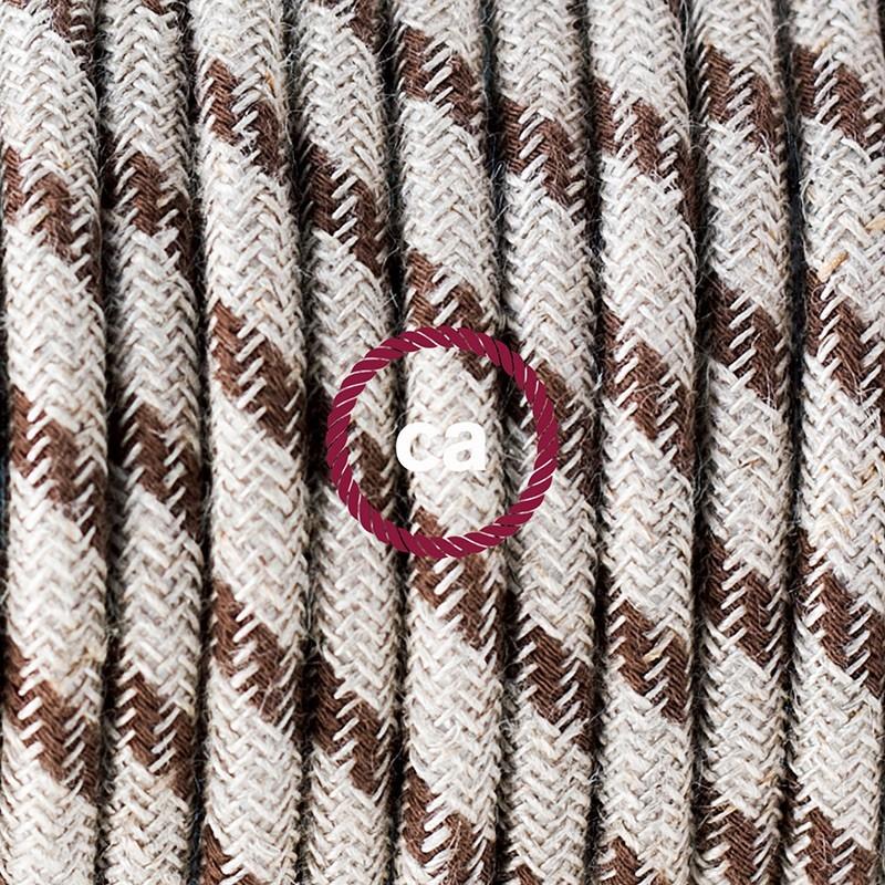Υφασματινο Καλώδιο για Φωτιστικά Δαπέδου Stripes μπεζ λινό και καφέ βαμβάκι RD53 - 3 m. Με διακόπτη ποδός και φις.
