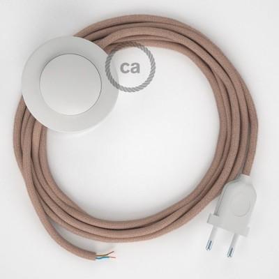Υφασματινο Καλώδιο για Φωτιστικά Δαπέδου Zig Zag μπεζ λινό και ροζ βαμβάκι RD71 - 3 m. Με διακόπτη ποδός και φις.