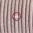 Υφασματινο Καλώδιο για Φωτιστικά Δαπέδου Lozenge μπεζ λινό και ροζ βαμβάκι RD61 - 3 m. Με διακόπτη ποδός και φις.
