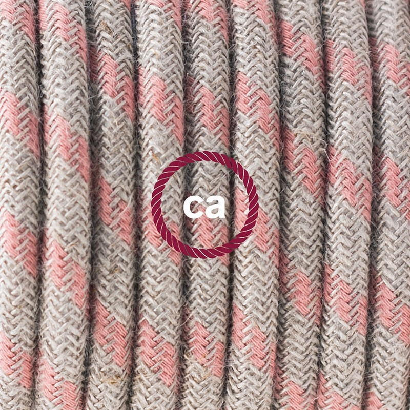 Υφασματινο καλώδιο πορτατίφ Stripes μπεζ λινό και ροζ βαμβάκι RD51 - 3 m. Με διακόπτη ποδός και φις.