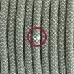 Υφασματινο Καλώδιο για Φωτιστικά Δαπέδου Zig Zag μπεζ λινό και πράσινο βαμβάκι RD72 - 3 m. Με διακόπτη ποδός και φις.