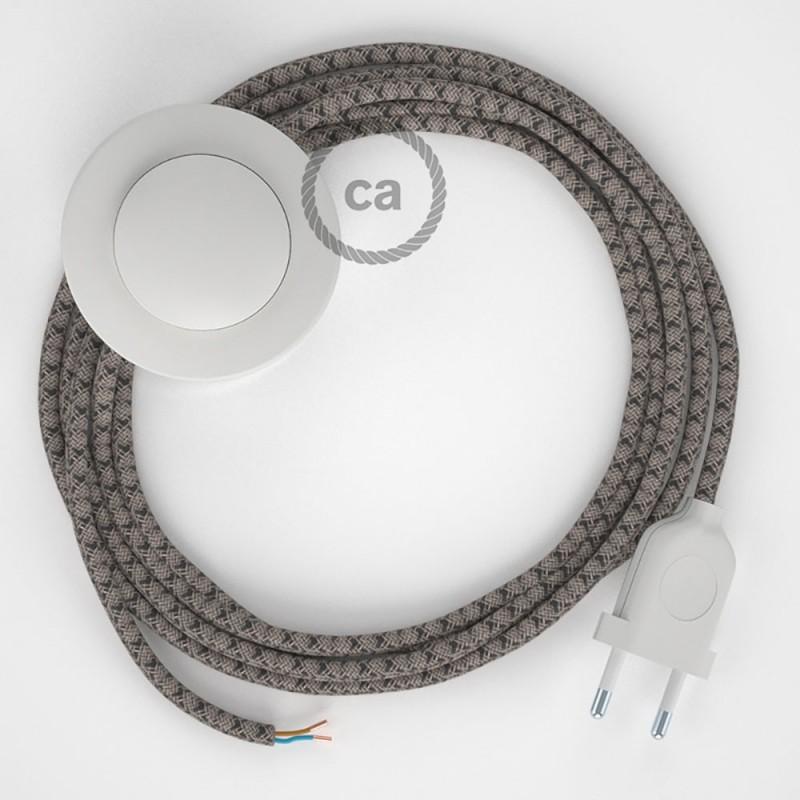 Υφασματινο Καλώδιο για Φωτιστικά Δαπέδου Lozenge μπεζ λινό και ανθρακί βαμβάκι RD64 - 3 m. Με διακόπτη ποδός και φις.