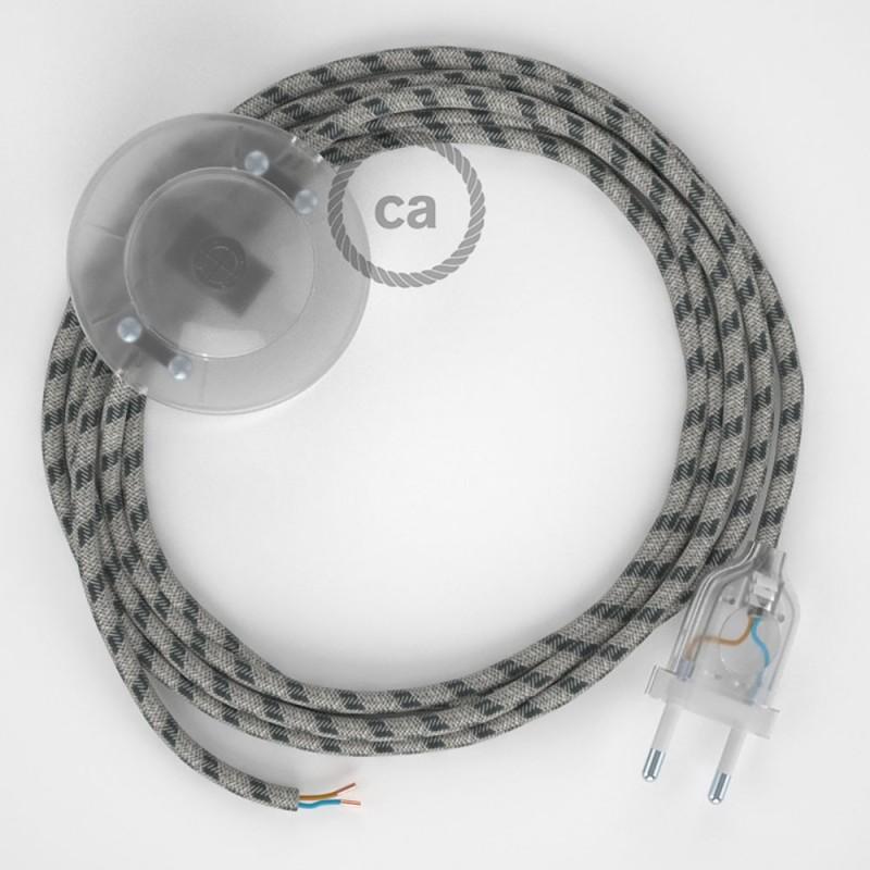 Υφασματινο Καλώδιο για Φωτιστικά Δαπέδου Stripes μπεζ λινό και ανθρακί βαμβάκι RD54 - 3 m. Με διακόπτη ποδός και φις.
