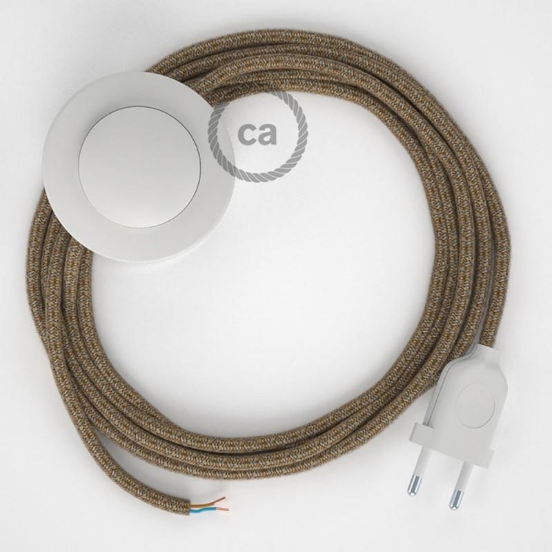 Υφασματινο Καλώδιο για Φωτιστικά Δαπέδου Καφέ Μάλλινο και Μπεζ Λινό RS82 - 3 m. Με διακόπτη ποδός και φις.