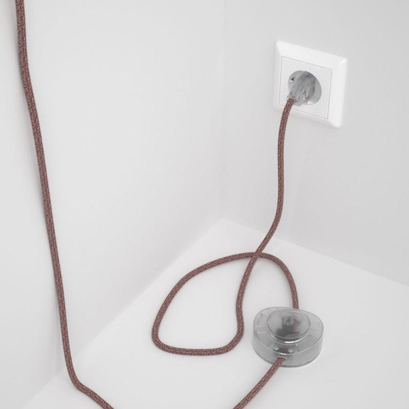 Υφασματινο Καλώδιο για Φωτιστικά Δαπέδου Mπορντώ Μάλλινο και Μπεζ Λινό RS83 - 3 m. Με διακόπτη ποδός και φις.
