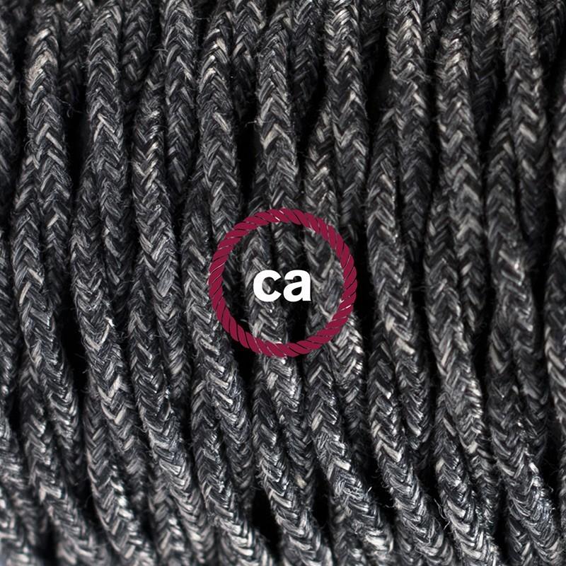 Στριφτό Υφασματινο Καλώδιο για Φωτιστικά Δαπέδου Ανθρακί Φυσικό Λινό TN03 - 3 m. Με διακόπτη ποδός και φις.