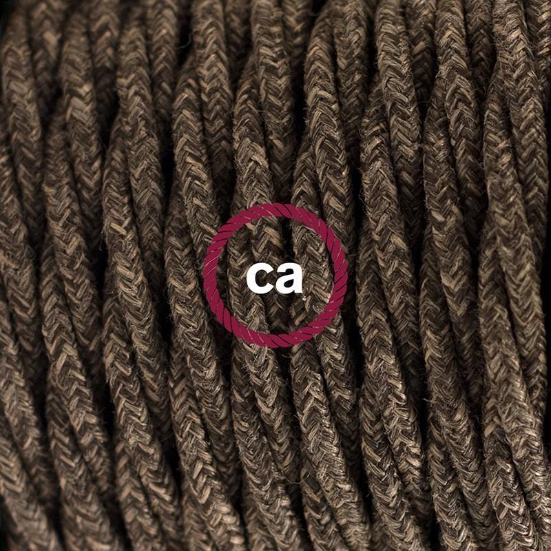 Στριφτό Υφασματινο Καλώδιο για Φωτιστικά Δαπέδου Φυσικό Καφέ Λινό TN04 - 3 m. Με διακόπτη ποδός και φις.