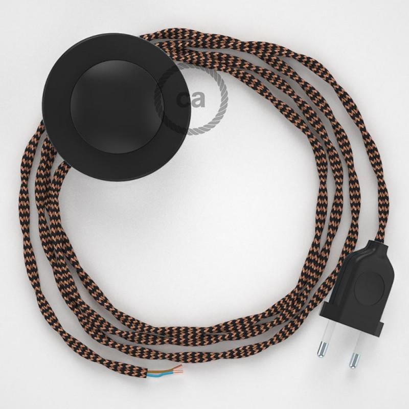 Στριφτό Υφασματινο Καλώδιο για Φωτιστικά Δαπέδου Μαύρο - Χάλκινο TZ22 - 3 m. Με διακόπτη ποδός και φις.