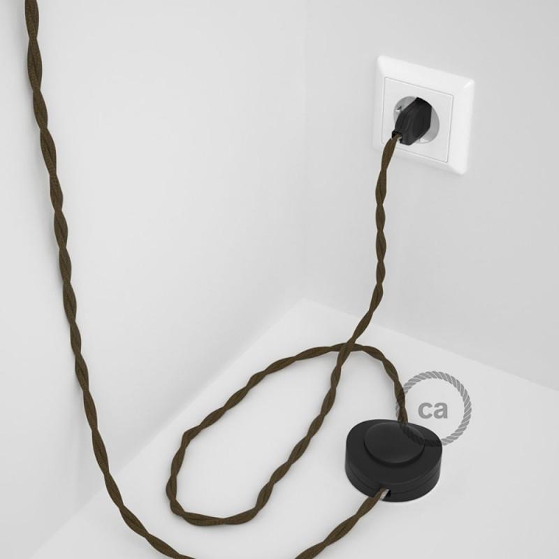 Στριφτό Υφασματινο Καλώδιο για Φωτιστικά Δαπέδου Καφέ Βαμβάκι TC13 - 3 m. Με διακόπτη ποδός και φις.