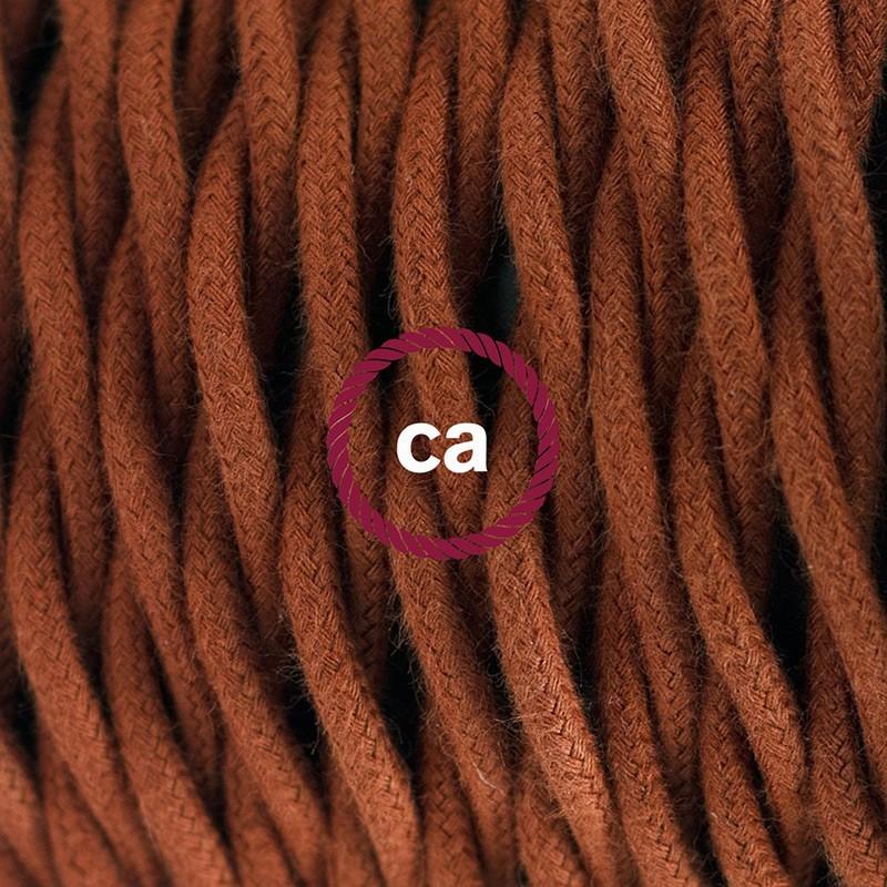 Στριφτό Υφασματινο Καλώδιο για Φωτιστικά Δαπέδου Καφέ Ανοιχτό Βαμβάκι TC23 - 3 m. Με διακόπτη ποδός και φις.