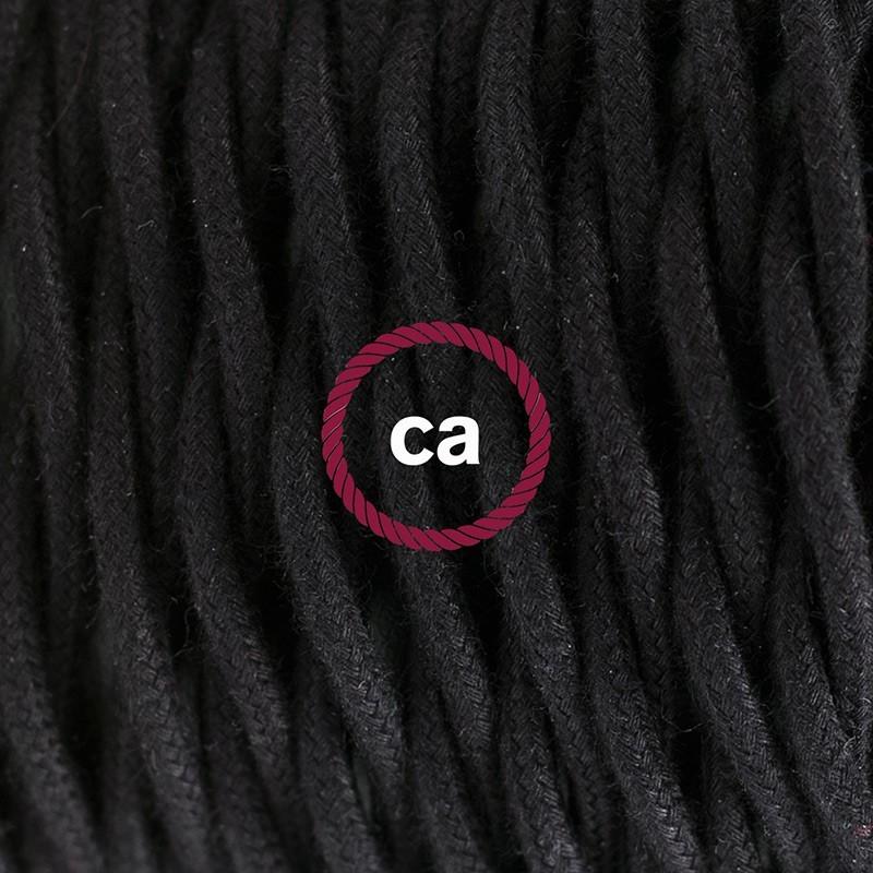 Στριφτό Υφασματινο Καλώδιο για Φωτιστικά Δαπέδου Μαύρο Βαμβάκι TC04 - 3 m. Με διακόπτη ποδός και φις.
