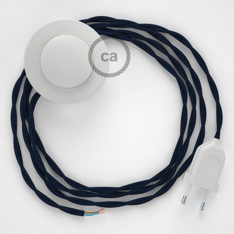 Στριφτό Υφασματινο Καλώδιο για Φωτιστικά Δαπέδου Σκούρο Μπλε TM20 - 3 m. Με διακόπτη ποδός και φις.