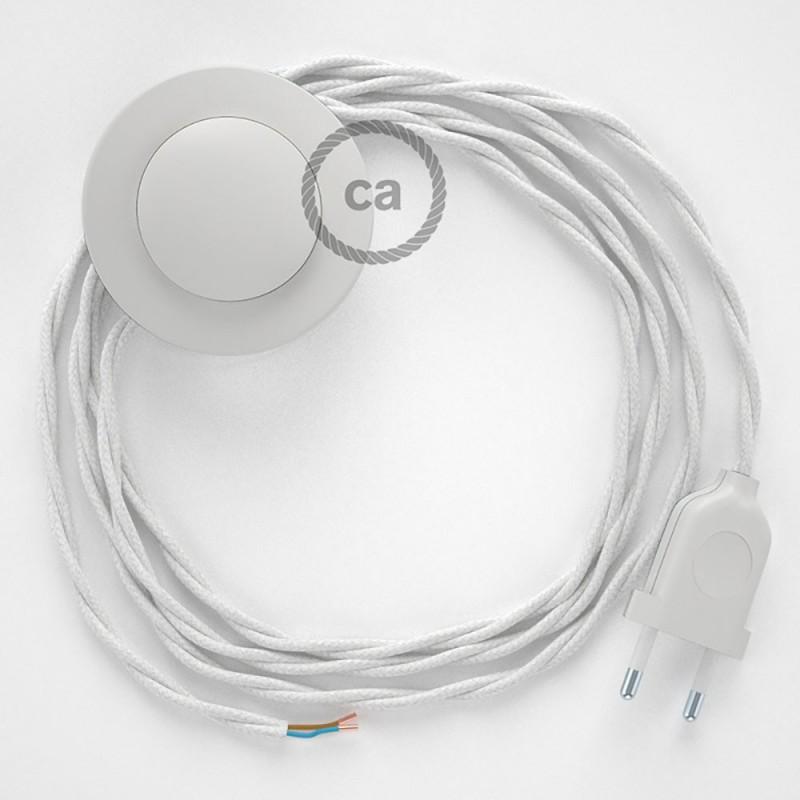Στριφτό Υφασματινο Καλώδιο για Φωτιστικά Δαπέδου Λευκό Βαμβάκι TC01 - 3 m. Με διακόπτη ποδός και φις.