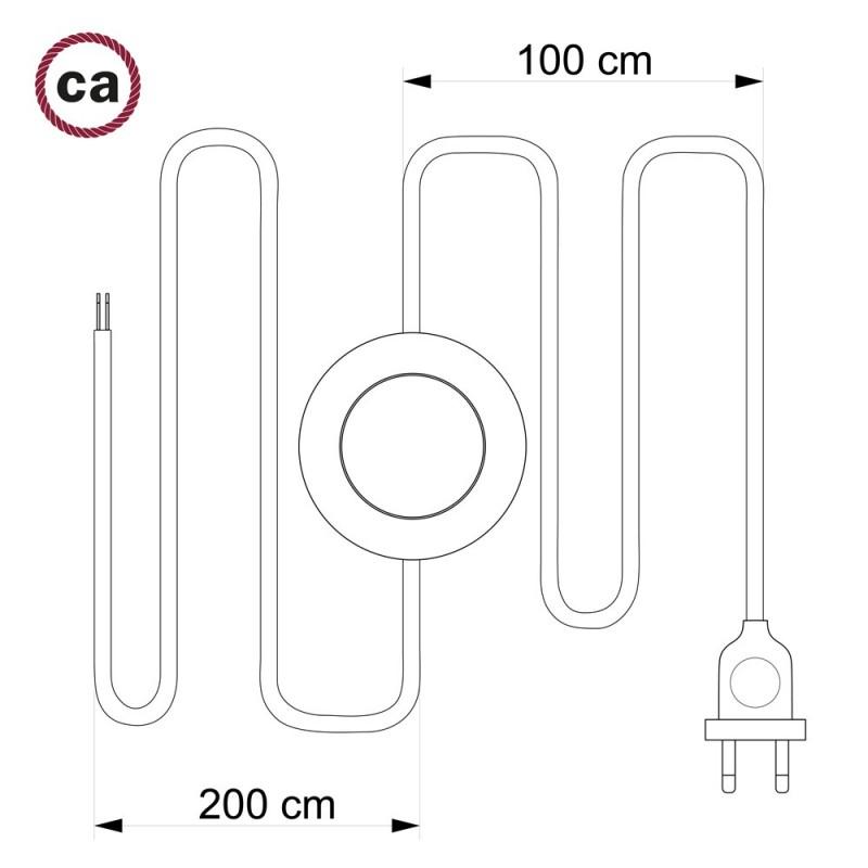 Στριφτό Υφασματινο Καλώδιο για Φωτιστικά Δαπέδου, Μπορντώ TM19 - 3 m. Με διακόπτη ποδός και φις.