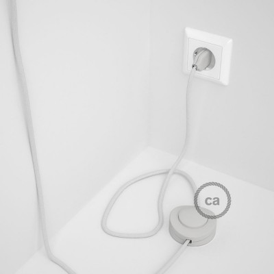 Υφασματινο Καλώδιο για Φωτιστικά Δαπέδου RC01 Λευκό - 3 m. Με διακόπτη ποδός και φις.