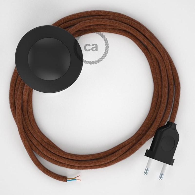Υφασματινο Καλώδιο για Φωτιστικά Δαπέδου RC23 Φουντουκί Ανοιχτό - 3 m. Με διακόπτη ποδός και φις.